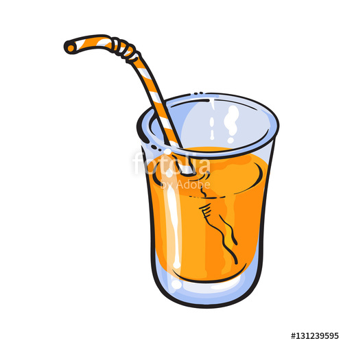 500x500 Realistic Colorful Hand Drawn Glass Of Freshly Squeezed Orange