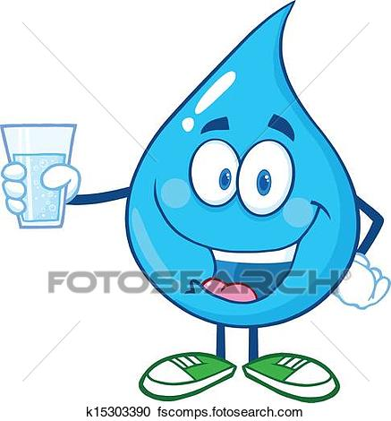 437x470 Clipart Of Water Drop Holding A Water Glass K15303390