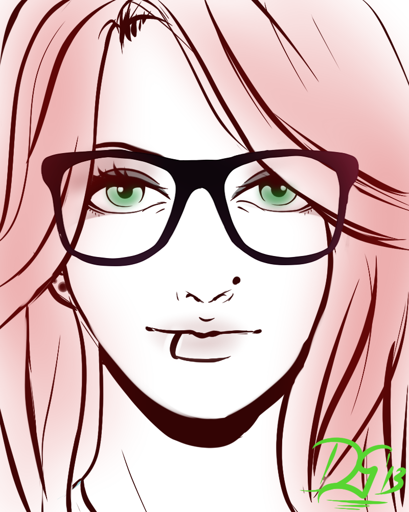 800x1000 Pictures Girl With Glasses Drawing,