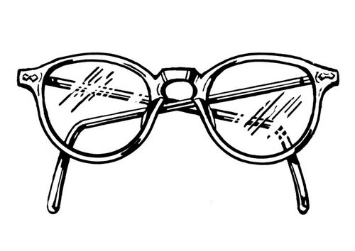500x354 Drawing Of Pair Of Female Worried Eyes With Glasses