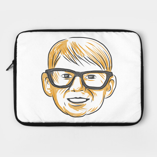 630x630 Caucasian Boy Glasses Head Smiling Drawing