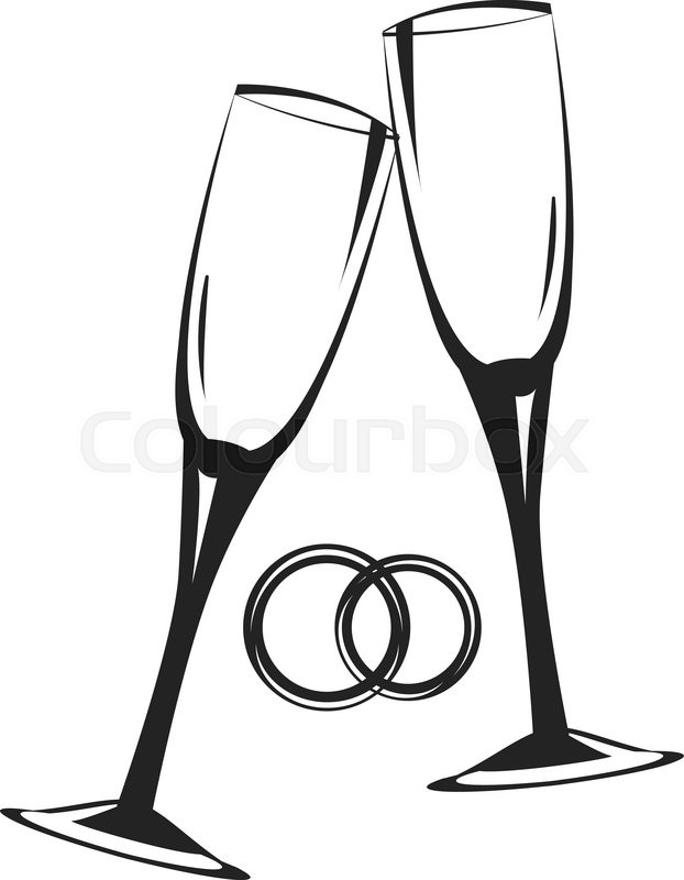 622x800 Champagne Glasses.golden Wedding Celebration.scalable Vector