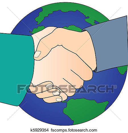 450x468 Clipart Of Handshake For Global Peace K5929354