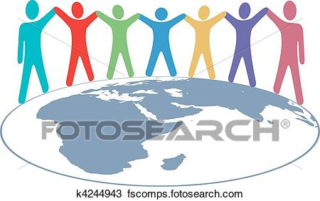 450x282 Clipart Of People Colors Hold Hands And Arms On World Map K4244943