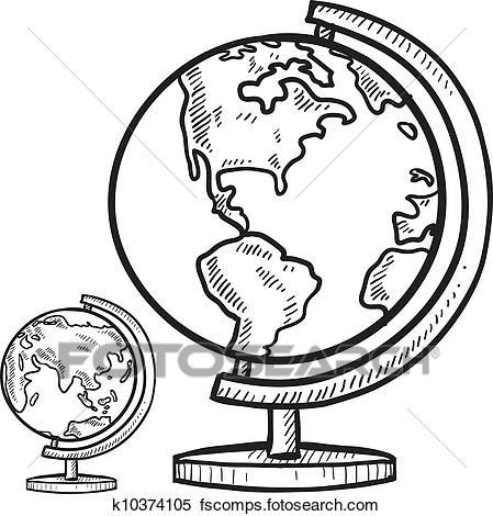 449x470 Clipart Of Classroom Globe Sketch K10374105