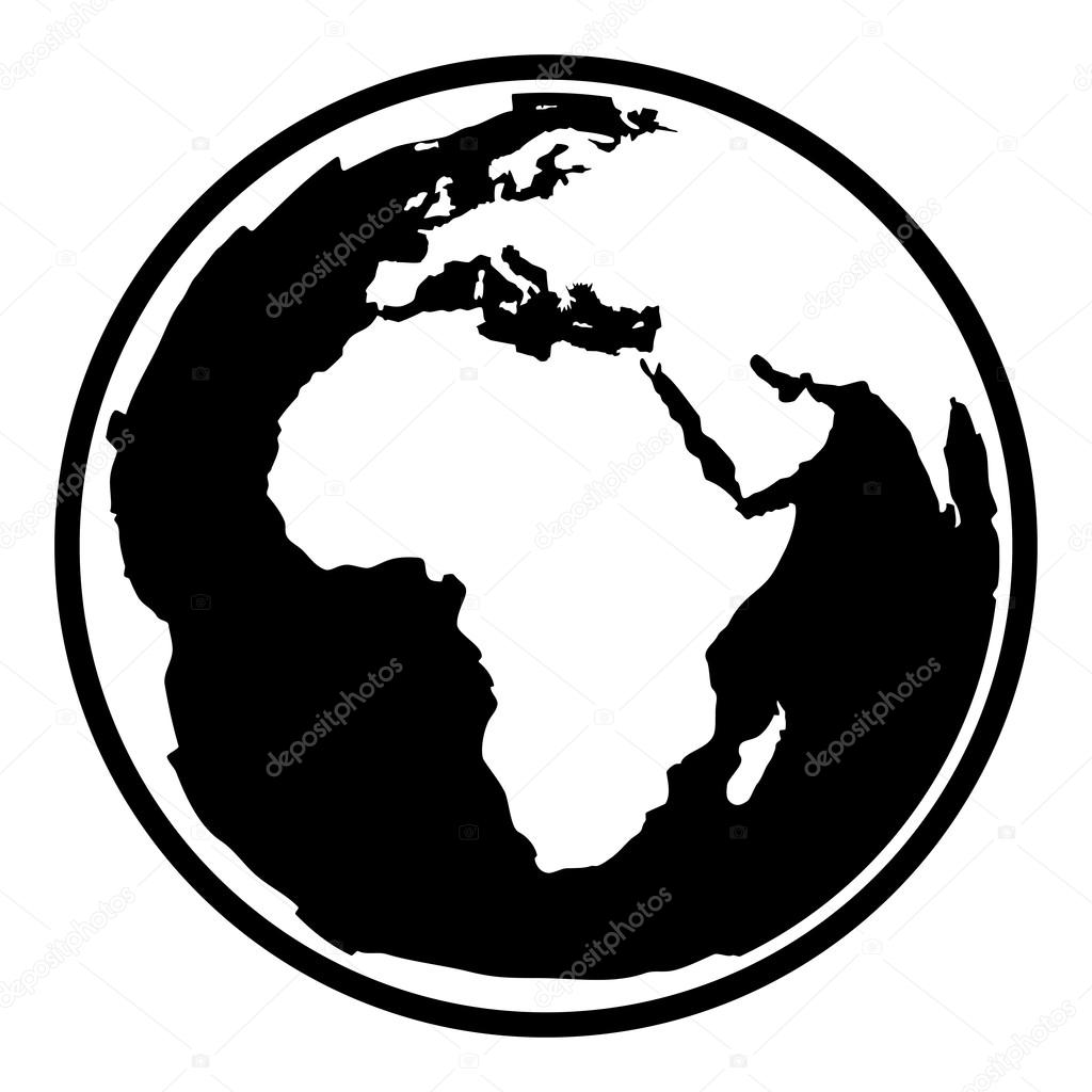 1024x1024 Contour Black Symbol Of Earth Planet In Africa View Stock Vector