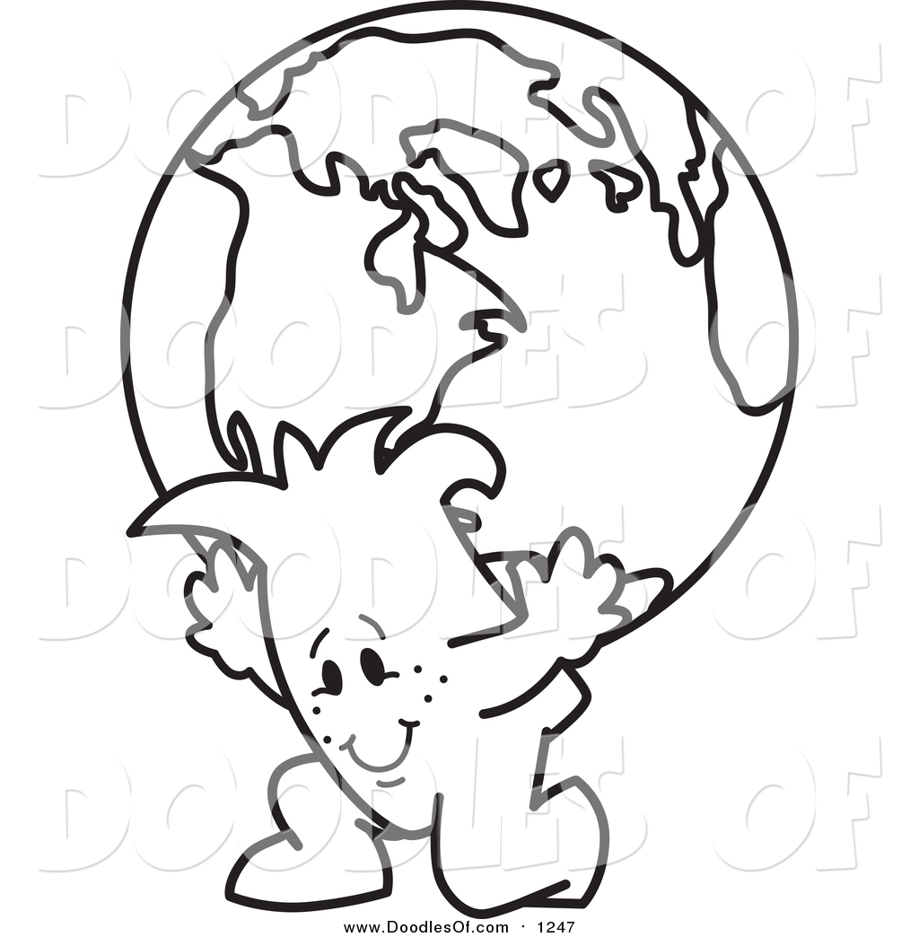 1024x1044 Vector Clipart Of A Doodled Squiggle Guy Atlas Carrying A Globe By