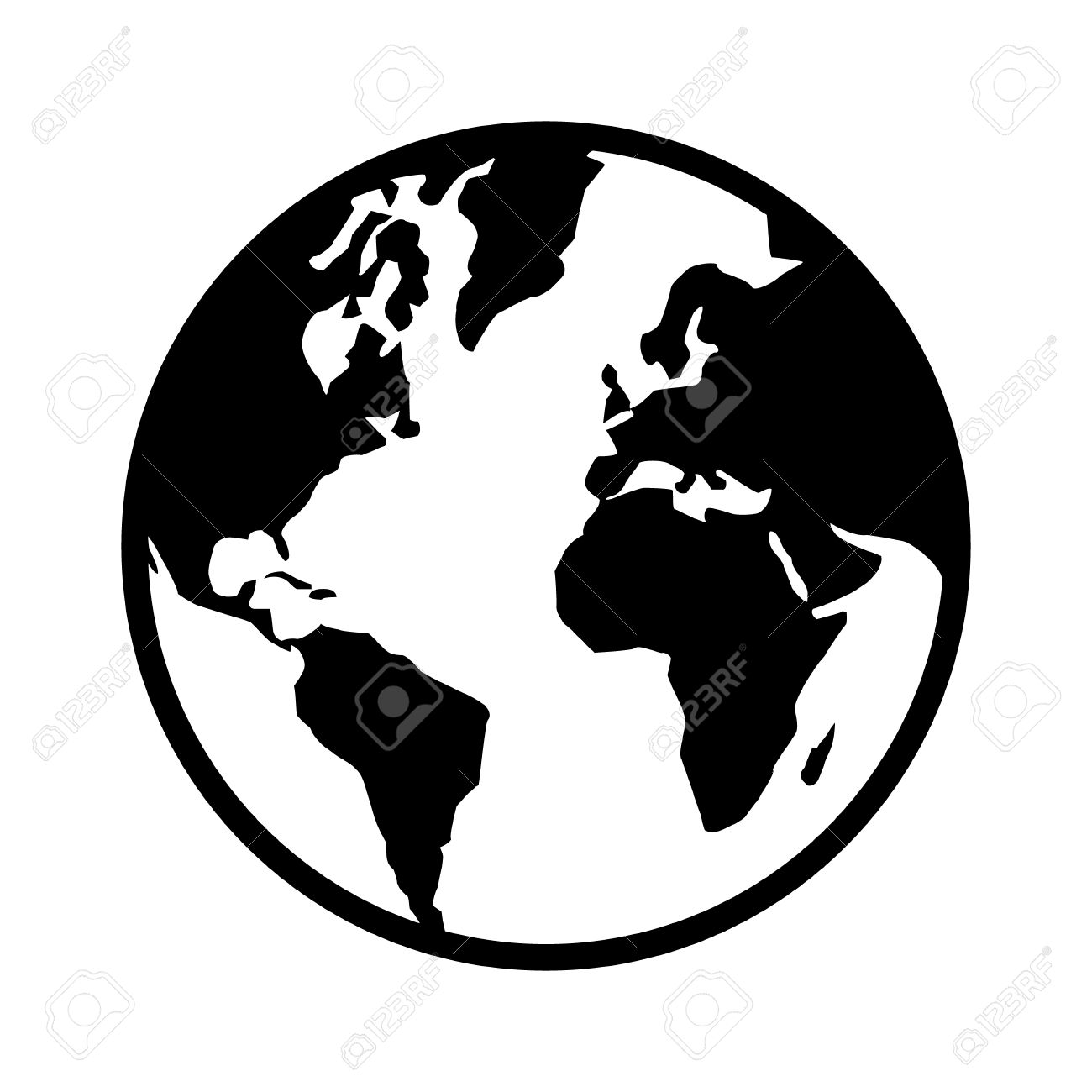1300x1300 World Map Globe Or Planet Earth World Map Line Art Icon For Apps