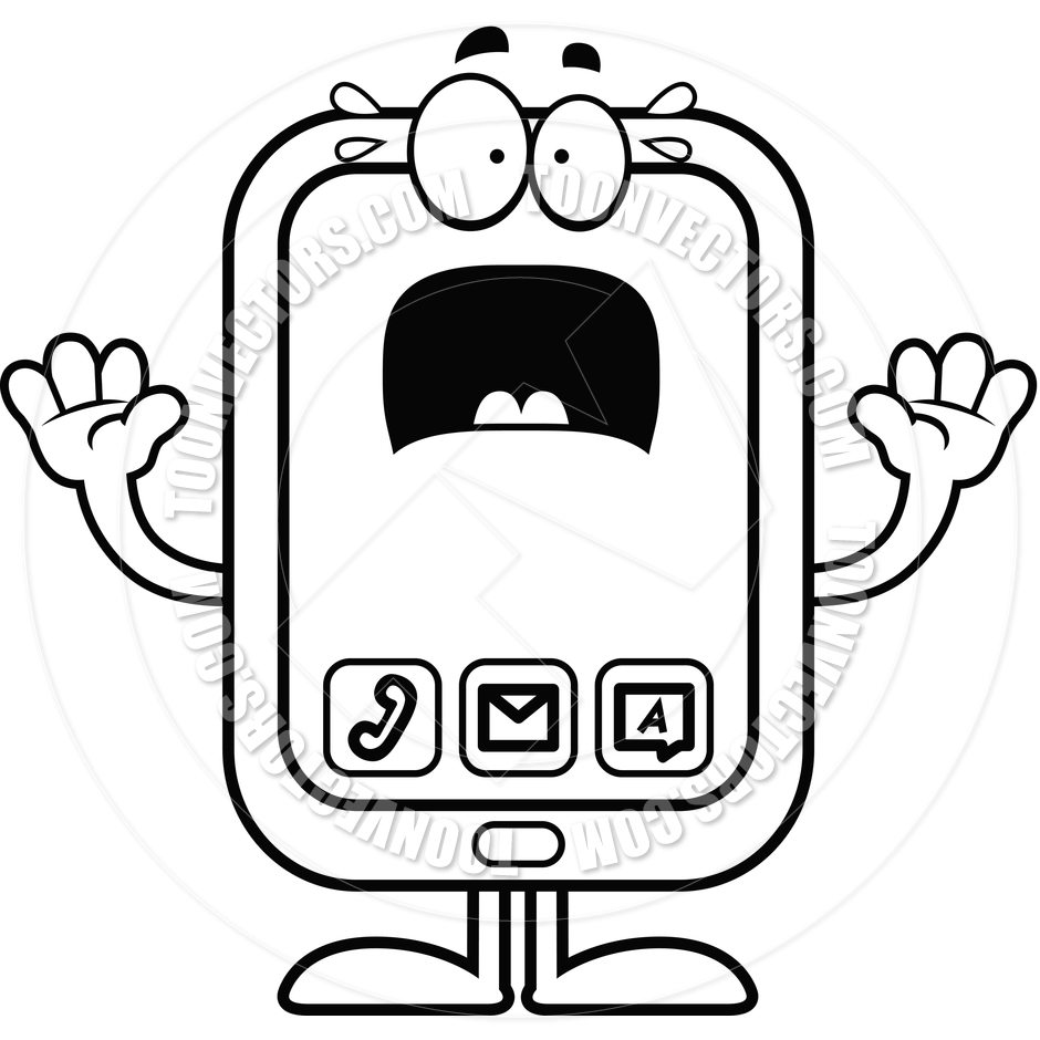 940x940 Cartoon Smartphone Scared (Black And White Line Art) By Cory
