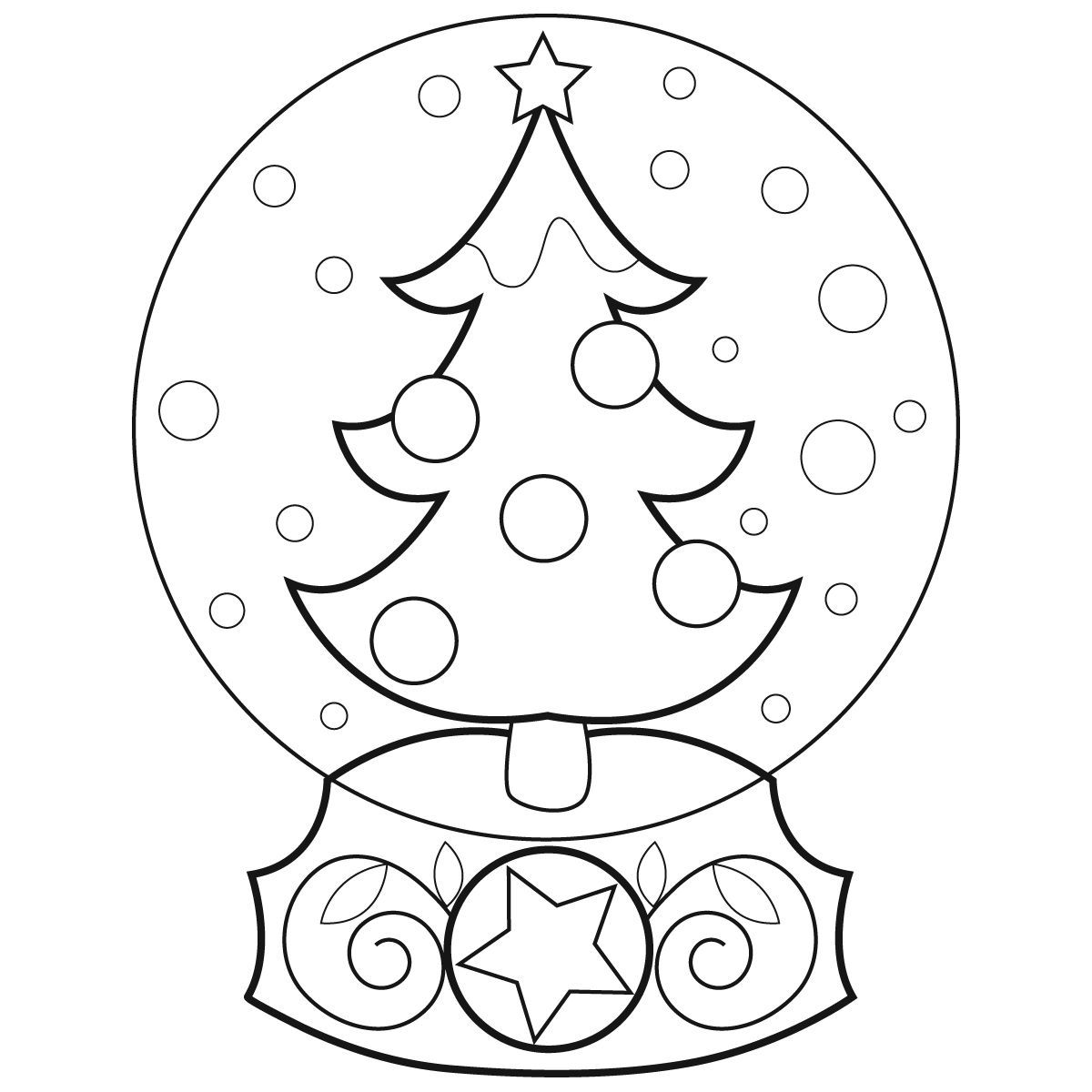 1200x1200 Snow Globe Coloring Page