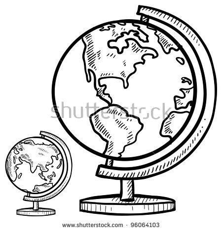 450x470 Drawn Globe Doodle