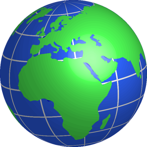 500x500 Globe Facing Europe, Africa, And Middle East Vector Drawing