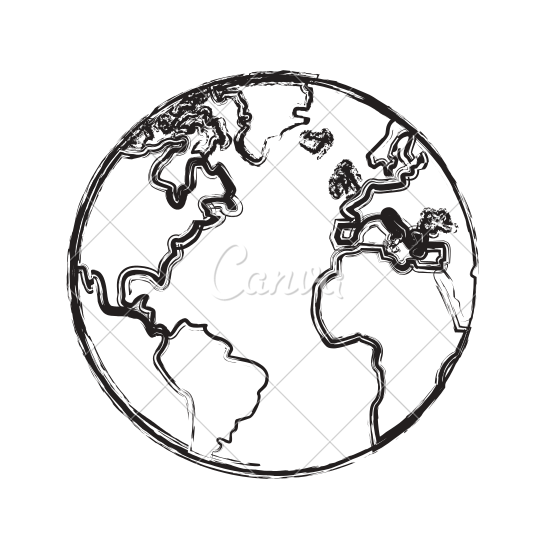 550x550 Sketch Globe Earth Map Icon