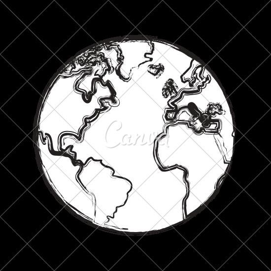 550x550 Sketch Globe Earth Map Icon