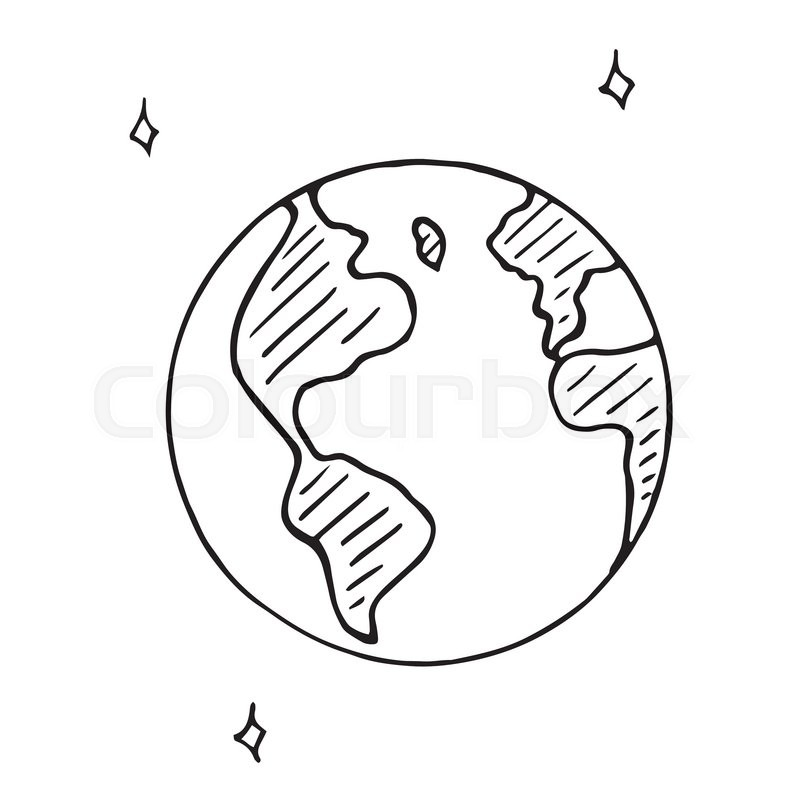 800x800 Vector Doodle Globe Icon, Hand Drawn Earth Isolated Stock Vector