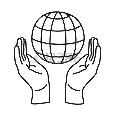 450x450 Doodle Icon. Two Hands Holding A Globe. Save The Earth