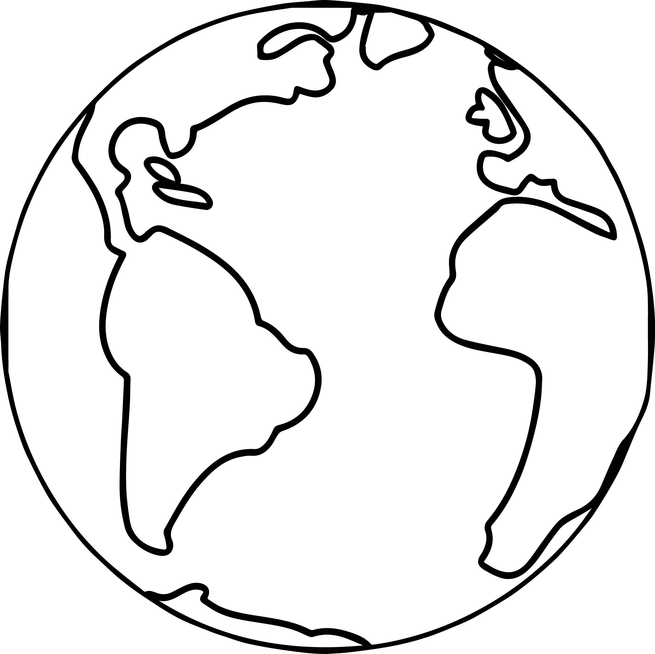 2146x2142 Earth Outline Coloring Pages