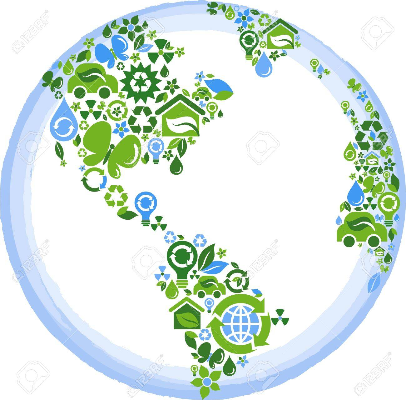 1300x1280 Globe Outline Compose Of Green And Blue Ecological Icons Royalty