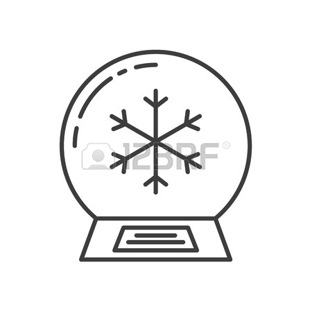 450x450 Snow Globe Linear Icon. Thin Line Illustration. Water Globe