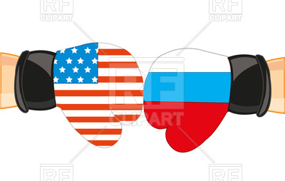 400x254 Boxing Gloves, Russia And Usa Flag Royalty Free Vector Clip Art