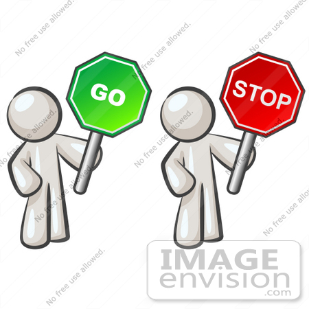 450x450 Clip Art Graphic Of White Guy Characters Holding Stop And Go Signs