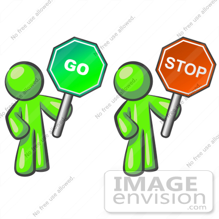 450x450 Clip Art Graphic Of A Lime Green Guy Character Holding Go And Stop