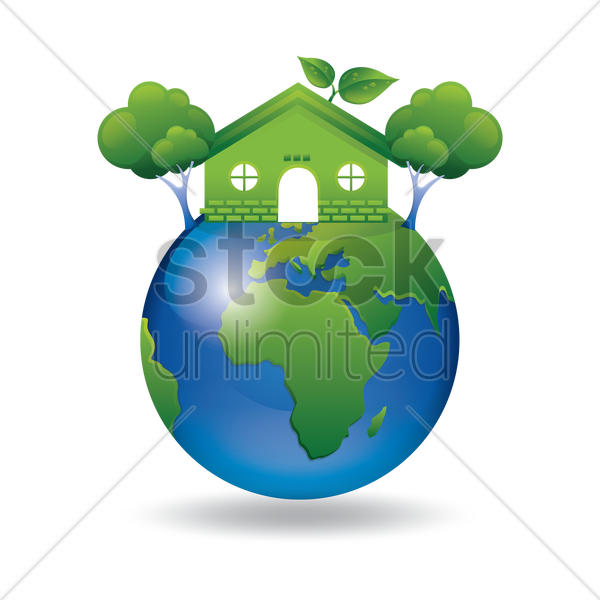 600x600 Green Earth With Go Green House And Tree Vector Image