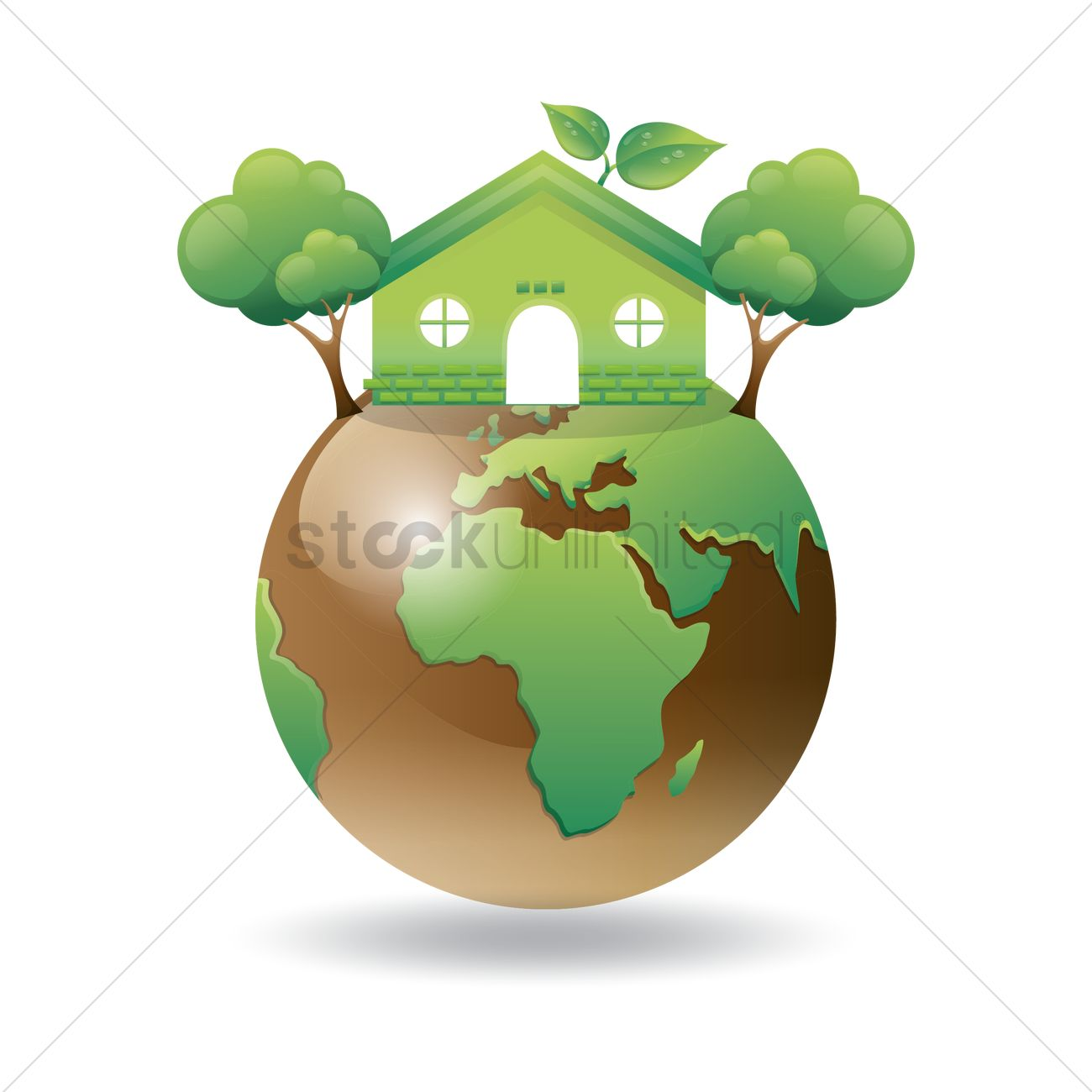 1300x1300 Green Earth With Go Green House And Tree Vector Image