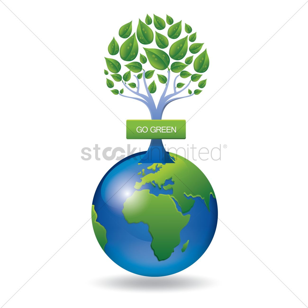1300x1300 Green Globe With Go Green Tree Vector Image