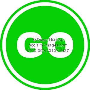 300x300 Clipart Illustration Of A Round Green Go Sign