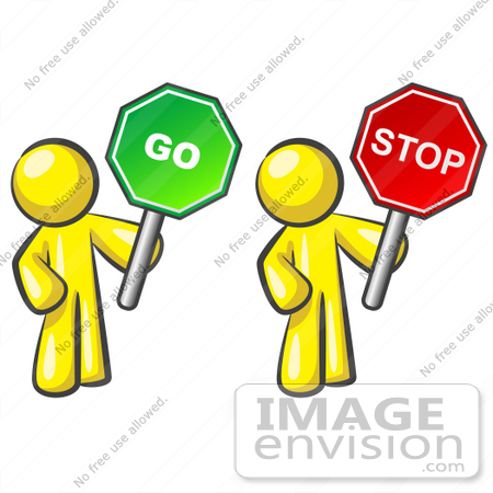 450x450 Clip Art Graphic Of Yellow Guy Characters Holding Stop And Go