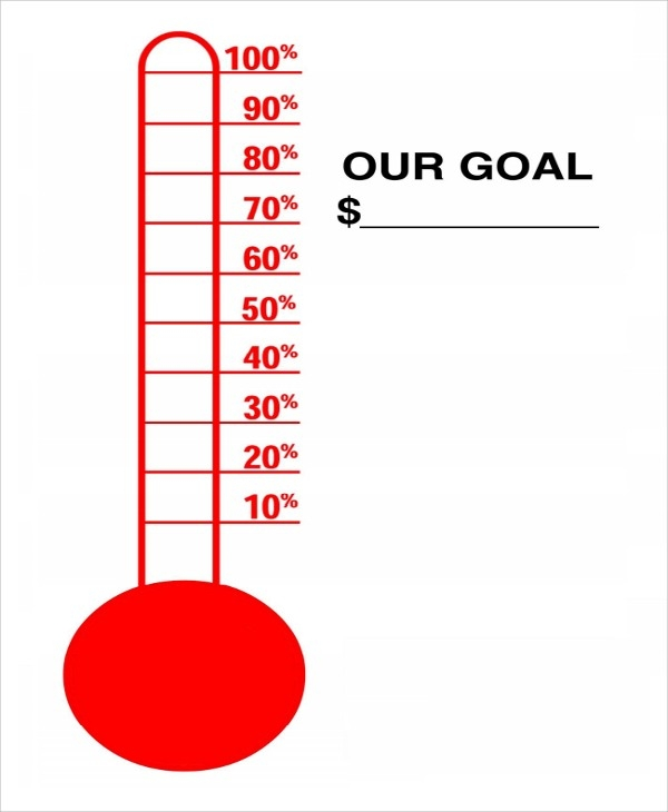 600x730 Fundraising Thermometer Template Word