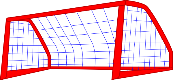 600x287 Red Post And Blue Soccer Goal Net Clip Art