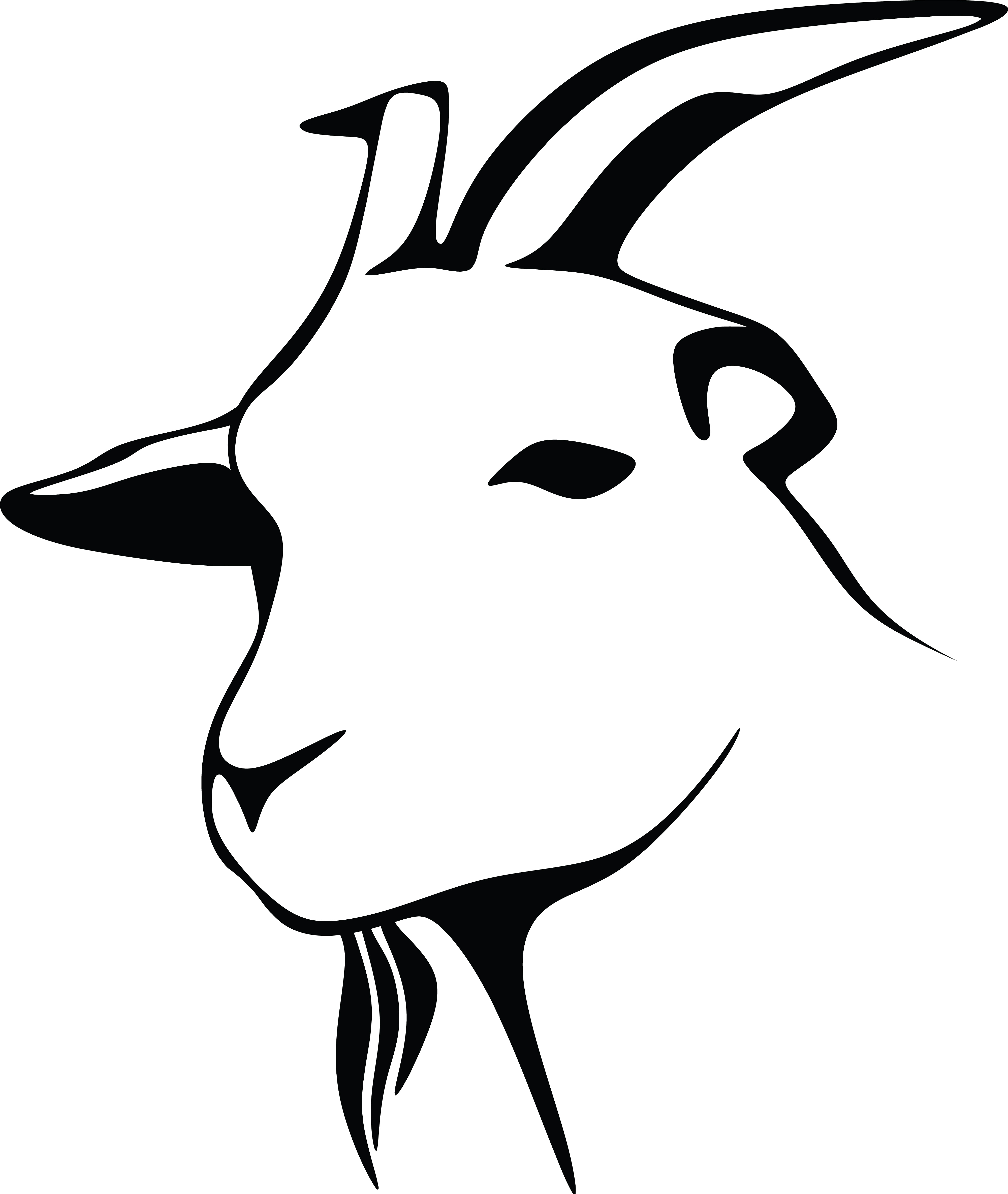 4000x4739 Clipart Of A Black And White Goat Head