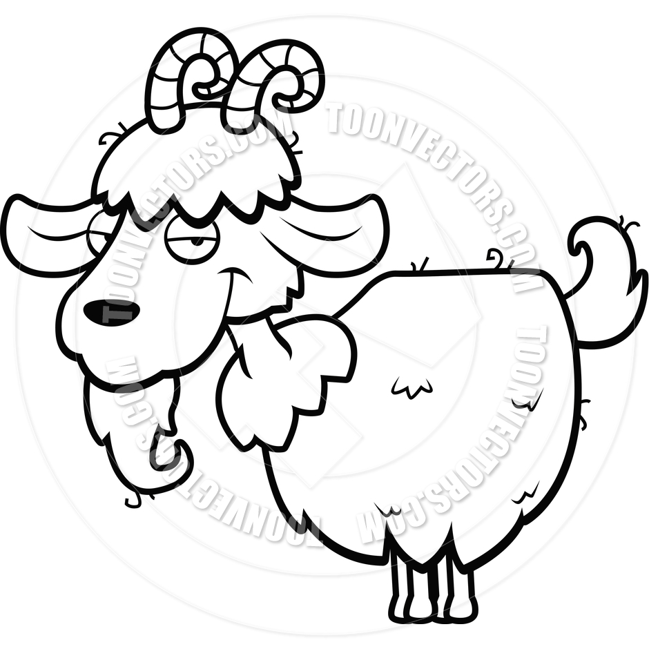 940x940 Mountain Goat (Black And White Line Art) By Cory Thoman Toon