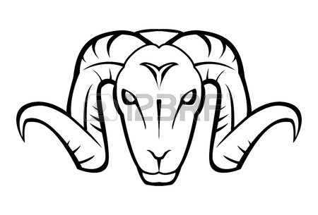 450x305 Standing Goat,black And White Vector Image,side View Contour