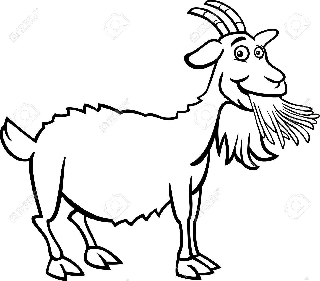 1300x1142 Black And White Cartoon Illustration Of Funny Goat Farm Animal