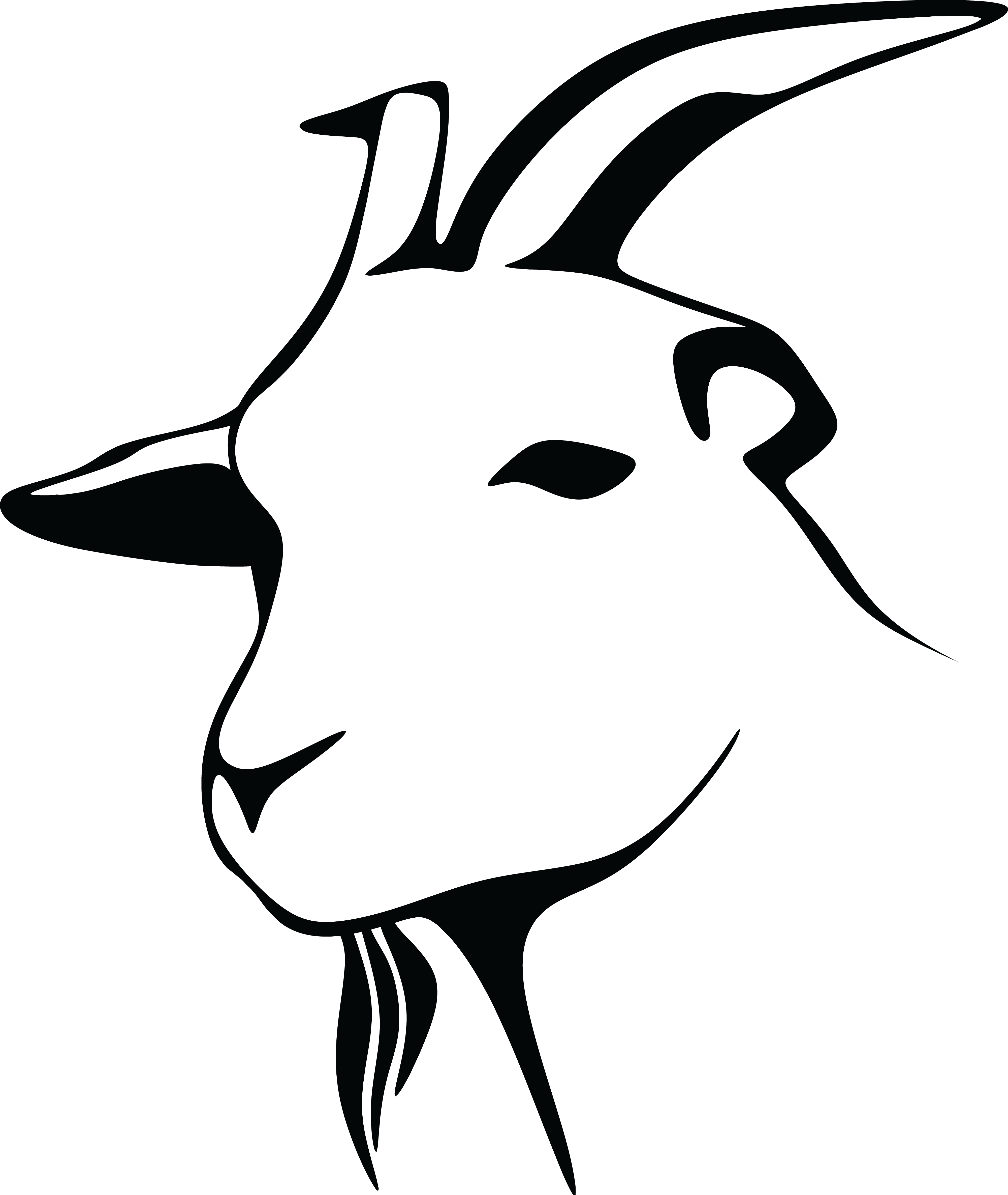 4000x4739 Free Clipart Of A Black And White Goat Head
