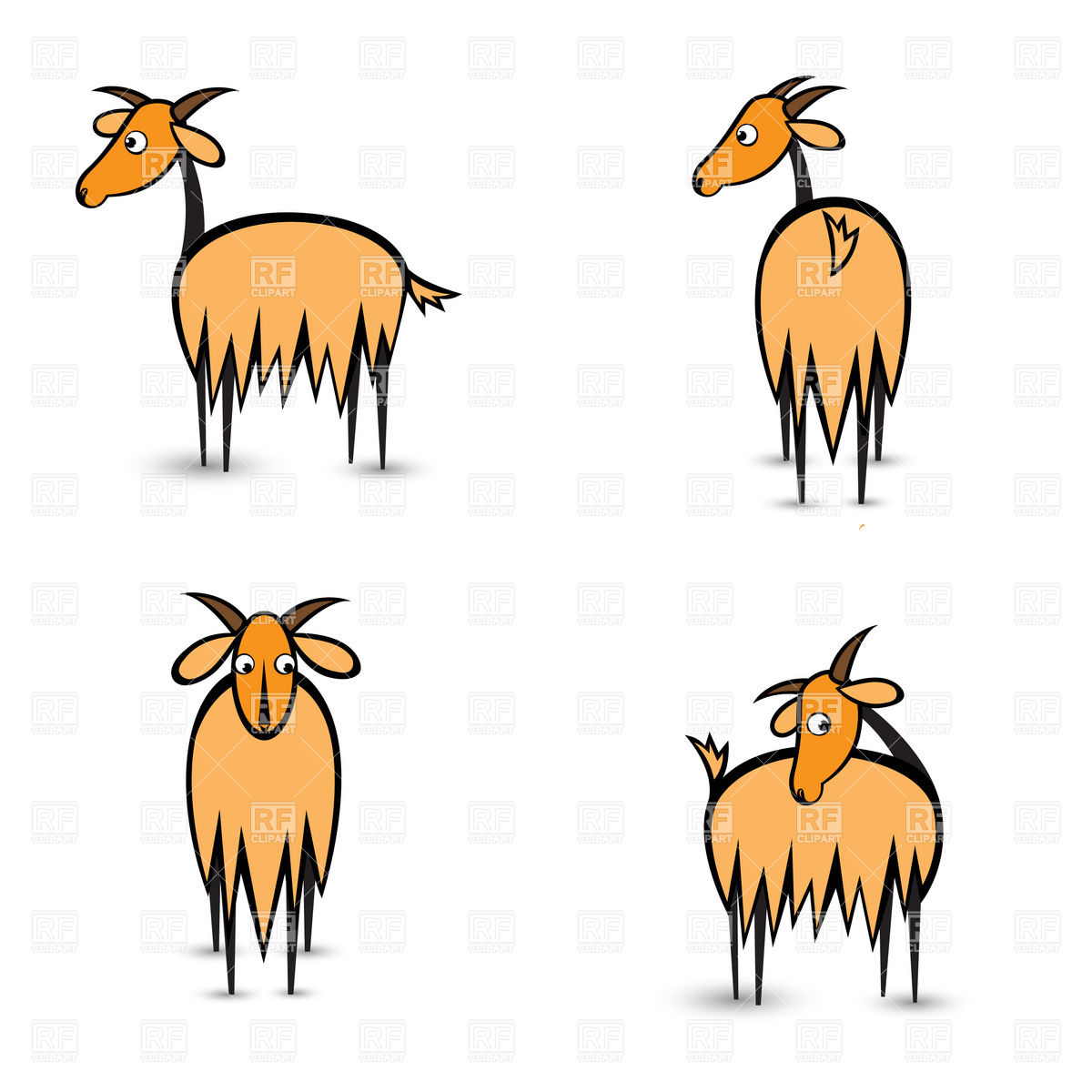 1200x1200 Standing Goat Royalty Free Vector Clip Art Image