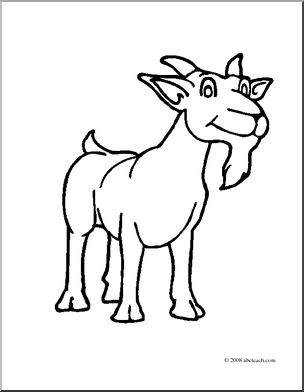 304x392 Clip Art Cartoon Goat Billy Goat (Coloring Page) I