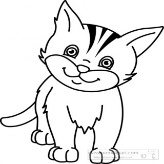 320x320 Cat Black And White Clipart