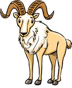 286x350 Picture Of A Goat With Big Wide Curved Horns In A Vector Clip Art