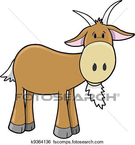 437x470 Clip Art Of Cute Farm Goat Vector K9364136