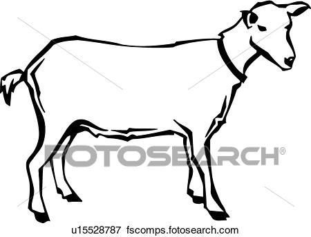 450x343 Clip Art Of Goat U15528787