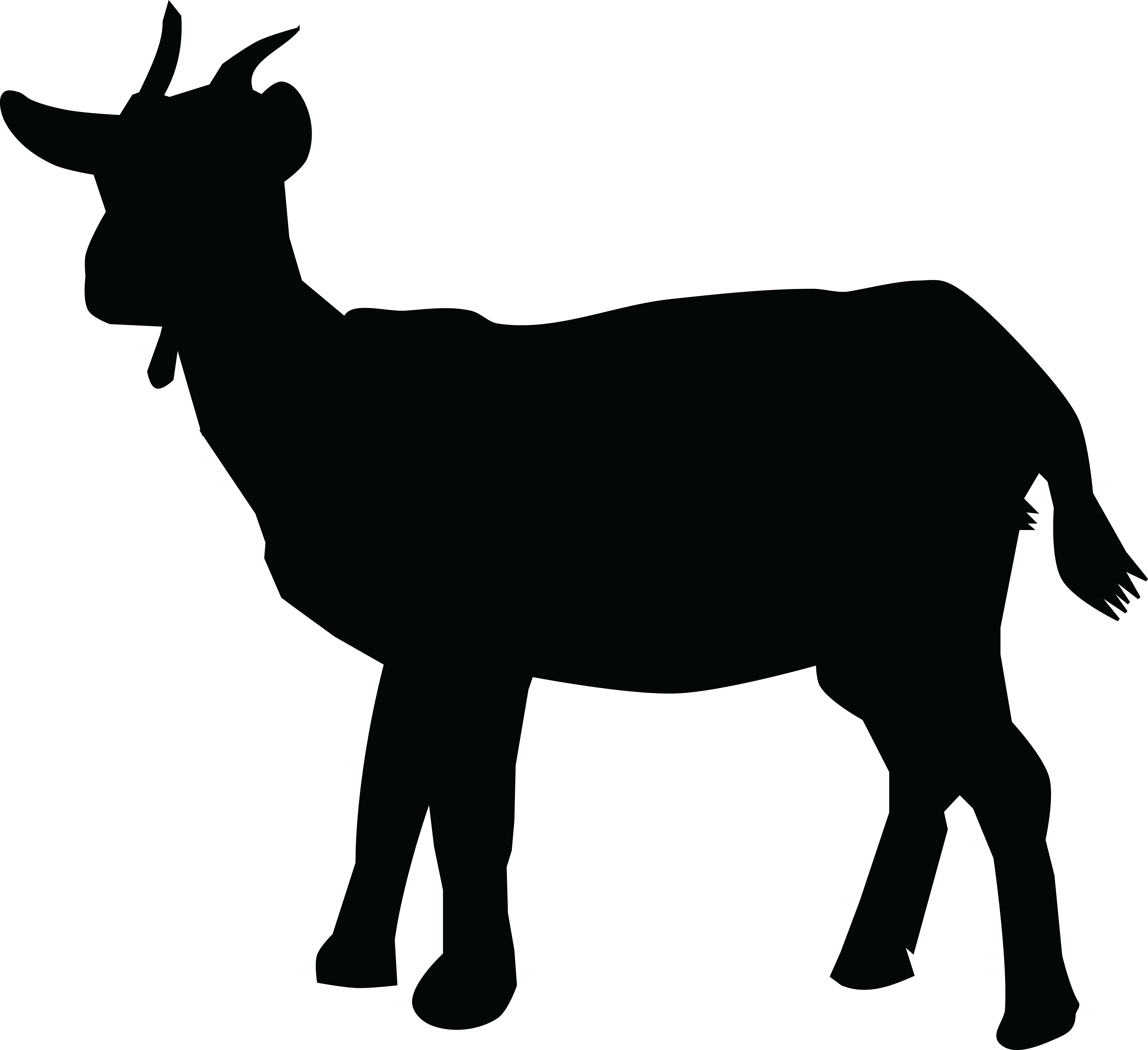 4000x3657 Free Clipart Of A Silhouetted Goat