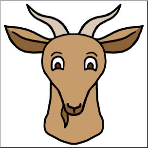 304x304 Clip Art Cartoon Animal Faces Goat Color I Abcteach