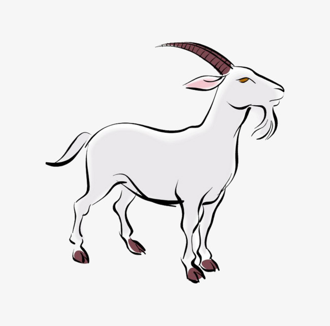 650x641 Old White Goat Cartoon, Cartoon Animals, Goat, Hillside Png Image