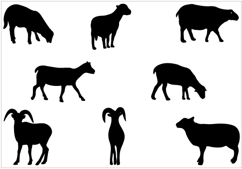 500x350 Sheep Silhouette Vector Clip Art Packsilhouette Clip Art Animal