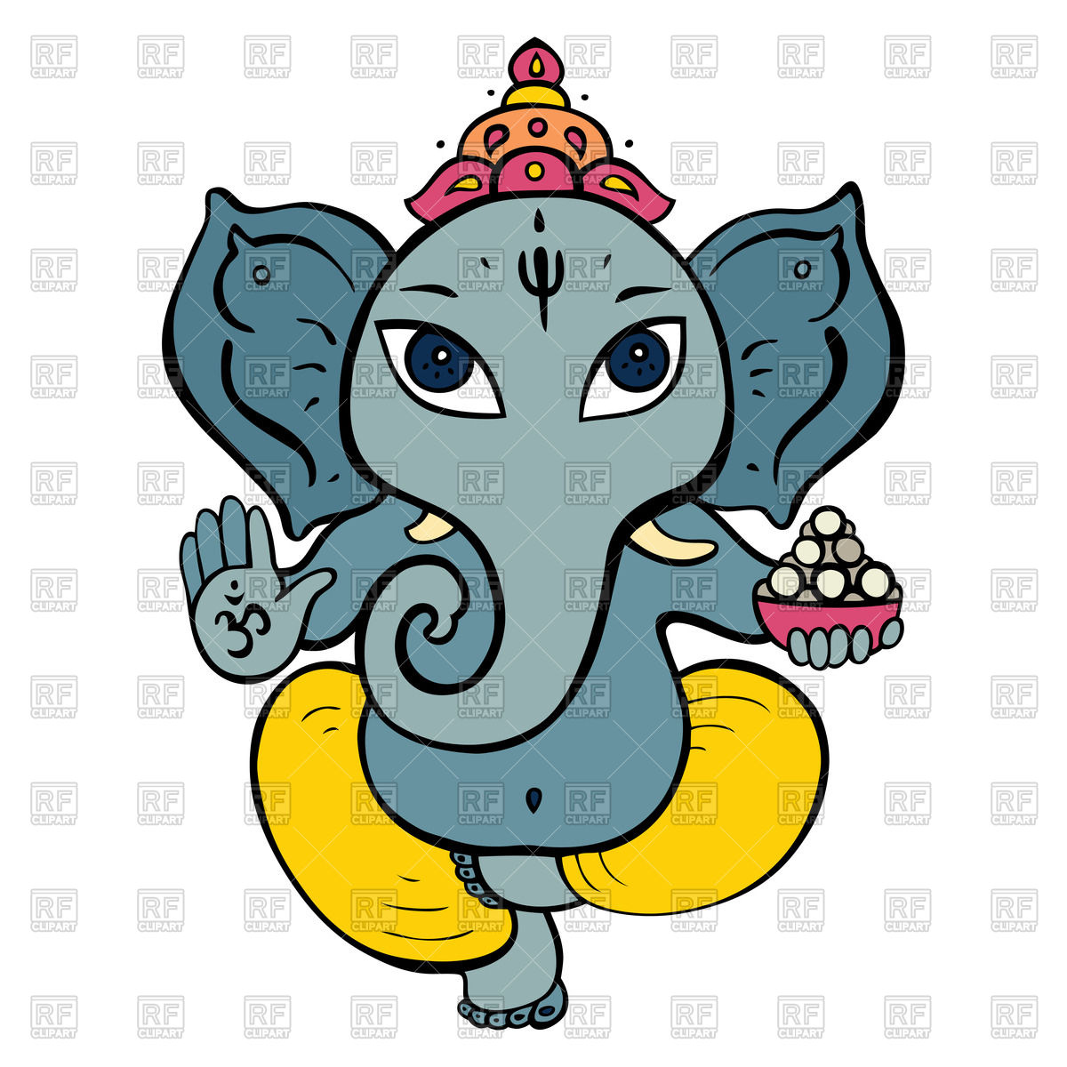 1200x1200 Cartoon Hindu God Ganesh Royalty Free Vector Clip Art Image