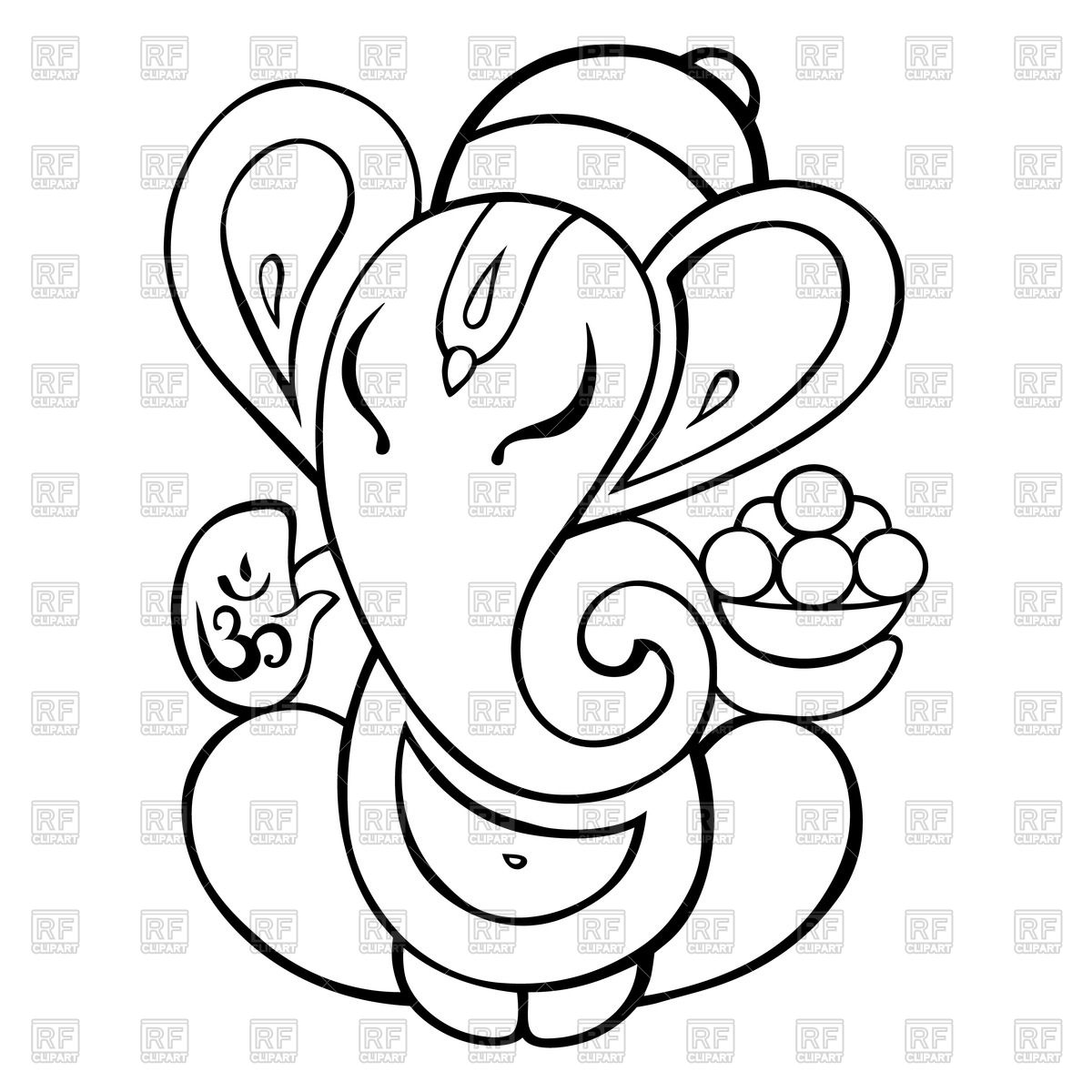 1200x1200 Outline Of Lord Ganesha Royalty Free Vector Clip Art Image